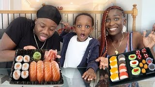 Raw Sushi VS Gummy Sushi Challenge (Gets Heated Billy Throws Up)