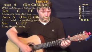 Yesterday (The Beatles) Guitar Lesson Chord Chart with On-Screen Lyrics