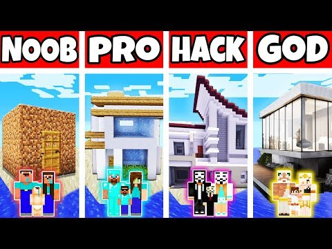 Minecraft: FAMILY MODERN LAKE HOUSE BUILD CHALLENGE - NOOB vs PRO vs HACKER vs GOD in Minecraft