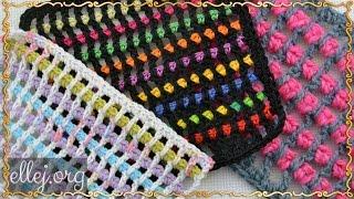 ♥ Пестрый узор крючком • Филейное вязание • Мастер-класс с схема вязания • ellej.org