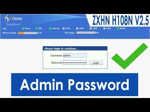 Globe ZTE ZXHN H108N Default Admin Password and Username