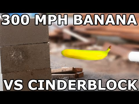 Will a 300 MPH Banana break a cinderblock?  In super slow motion