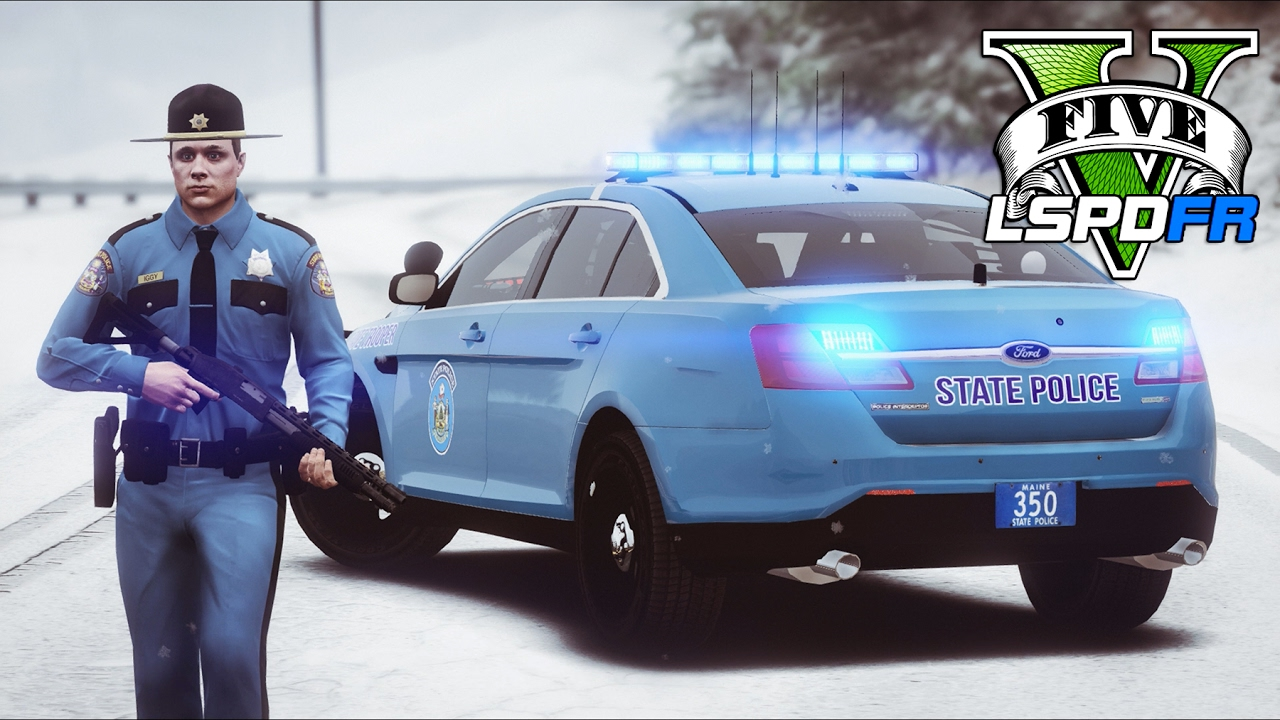 GTA 5 - LSPDFR Ep216 - Maine State Police in Snowy ...