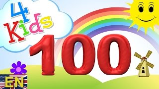 Numbers counting from 10 to 100 for children in 10 steps. Counting ten to onehundred (english) HD