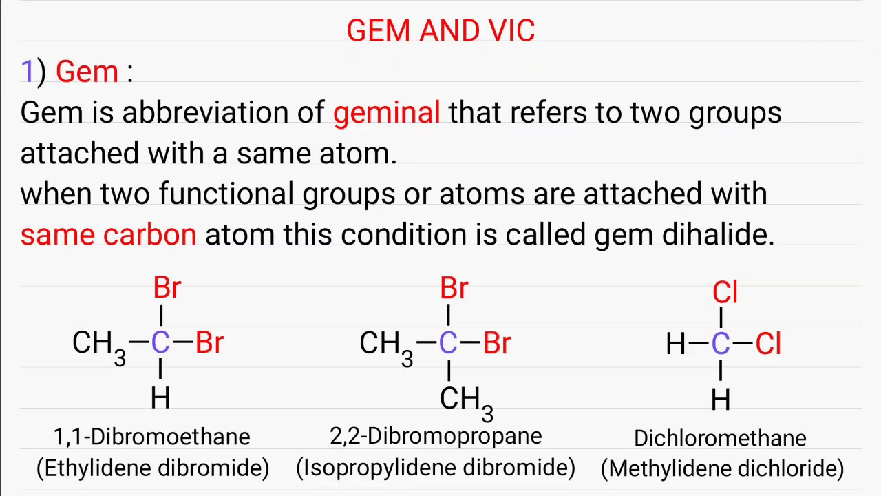 Gem And Vic Geminal And Vicinal Youtube