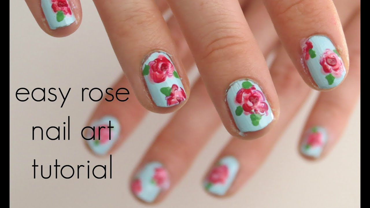easy rose nail art tutorial | islaayx - YouTube