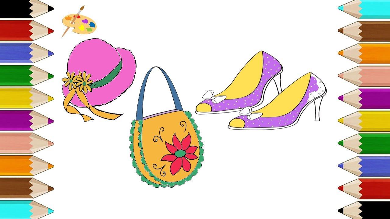 Como Dibujar Un Conjunto De Accesorios Femeninos Dibujos De Zapatos Para Colorear Bolso De Mano
