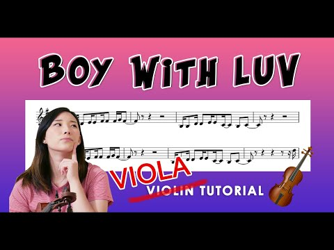 """Boy With Luv"" - BTS EASY VIOLA TUTORIAL (w/Sheet Music) thumbnail"