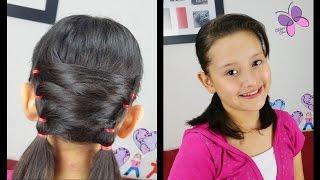 Colitas Irregulares   Uneven Pigtails   Peinados Faciles   Peinados Cabello Corto   Peinados Clases