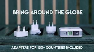 White Kaiman Wireless Charging Power Bank with International Travel Adapters