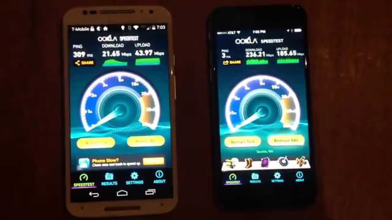 WiFi Speed test iPhone 6 and Moto X 2nd gen - YouTube