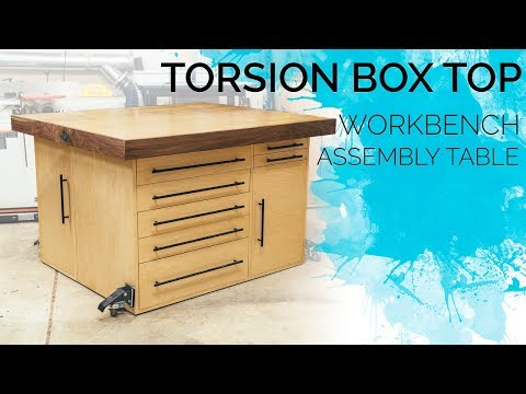 Torsion Box Workbench & Assembly Table / Outfeed Table with Storage || How To Build - Woodworking