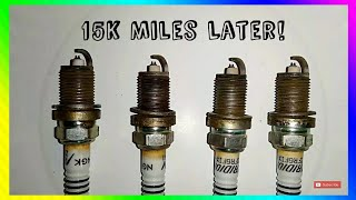 Marvel mystery oil [SPARK PLUGS AFTER 15k MILES] Marvel mystery oil before and after