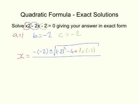 Quadratic Formula - Exact Form - YouTube
