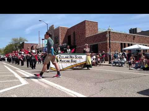 Zeeland high School Marching band May-11-2017 Tulip Time parade