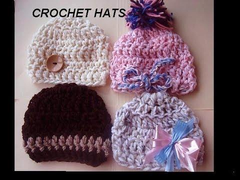 crochet pattern, CHUNKY BABY BEANIE HATS, baby hat crochet pattern ...