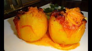 Фаршированный картофель в томатной заливке ! Пальчики оближешь ! #edblack
