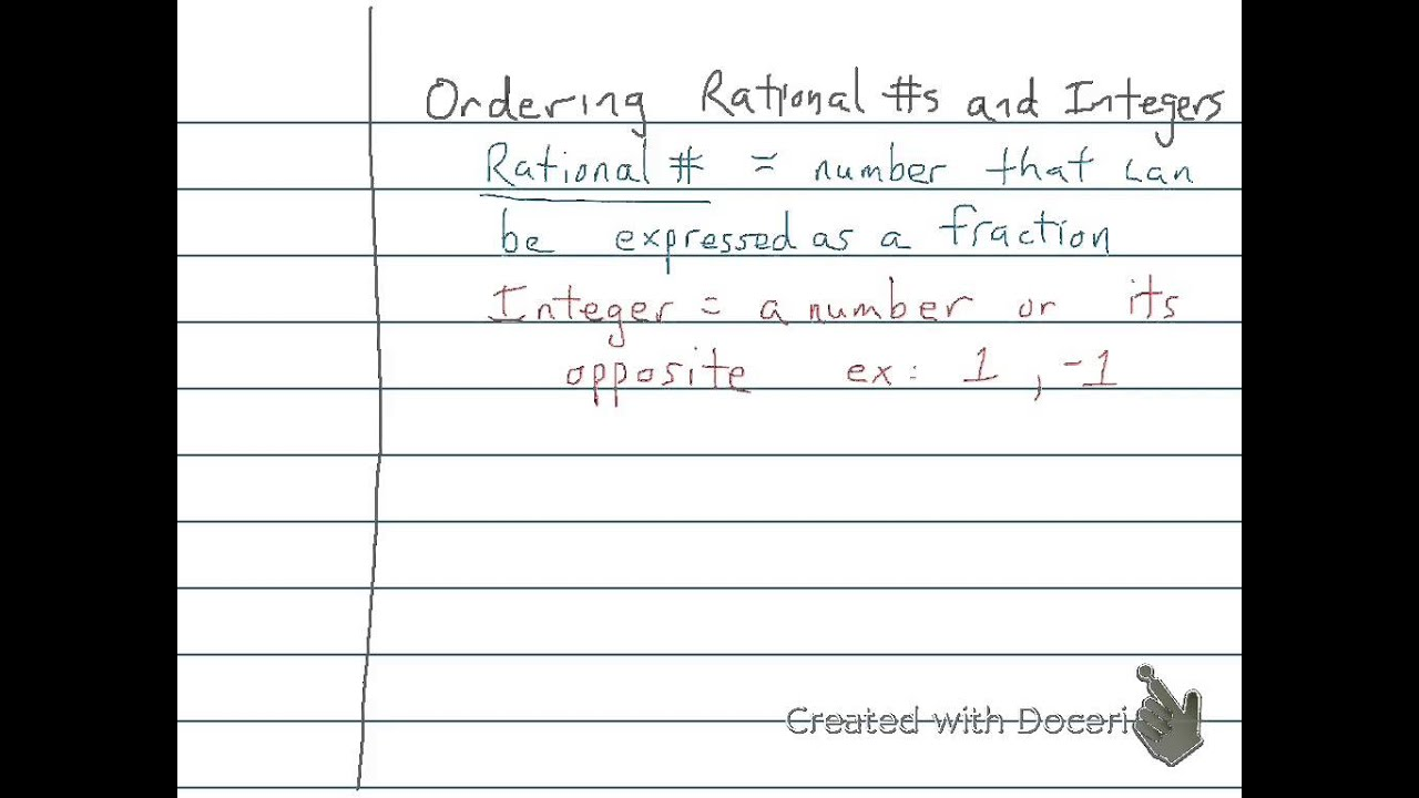 Compare And Order Rational Numbers And Integers 7th