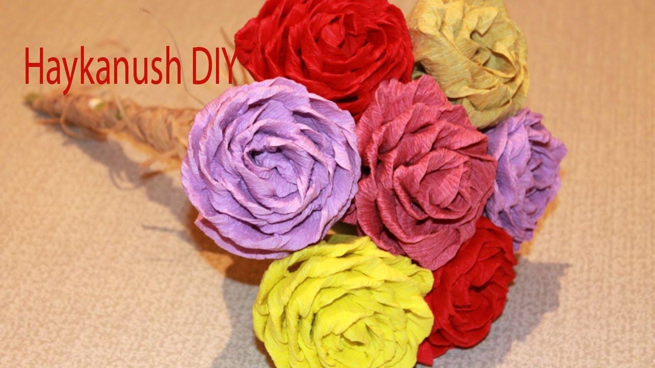 Como hacer rosas de papel crepe faciles youtube - Como hacer cosas de papel paso a paso faciles ...