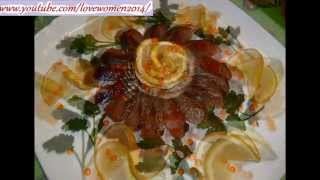 Как нарезать лимон и как украсить селёдку. Украшения стола из фруктов и овощей. Онлайн.