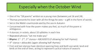 'especially When The October Wind' By Dylan Thomas Revision Video