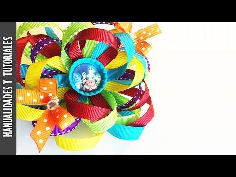 Tutorial Moño Inside Out(Intensa-mente) Video Colaborativo con Sandy's Style- Los290ss