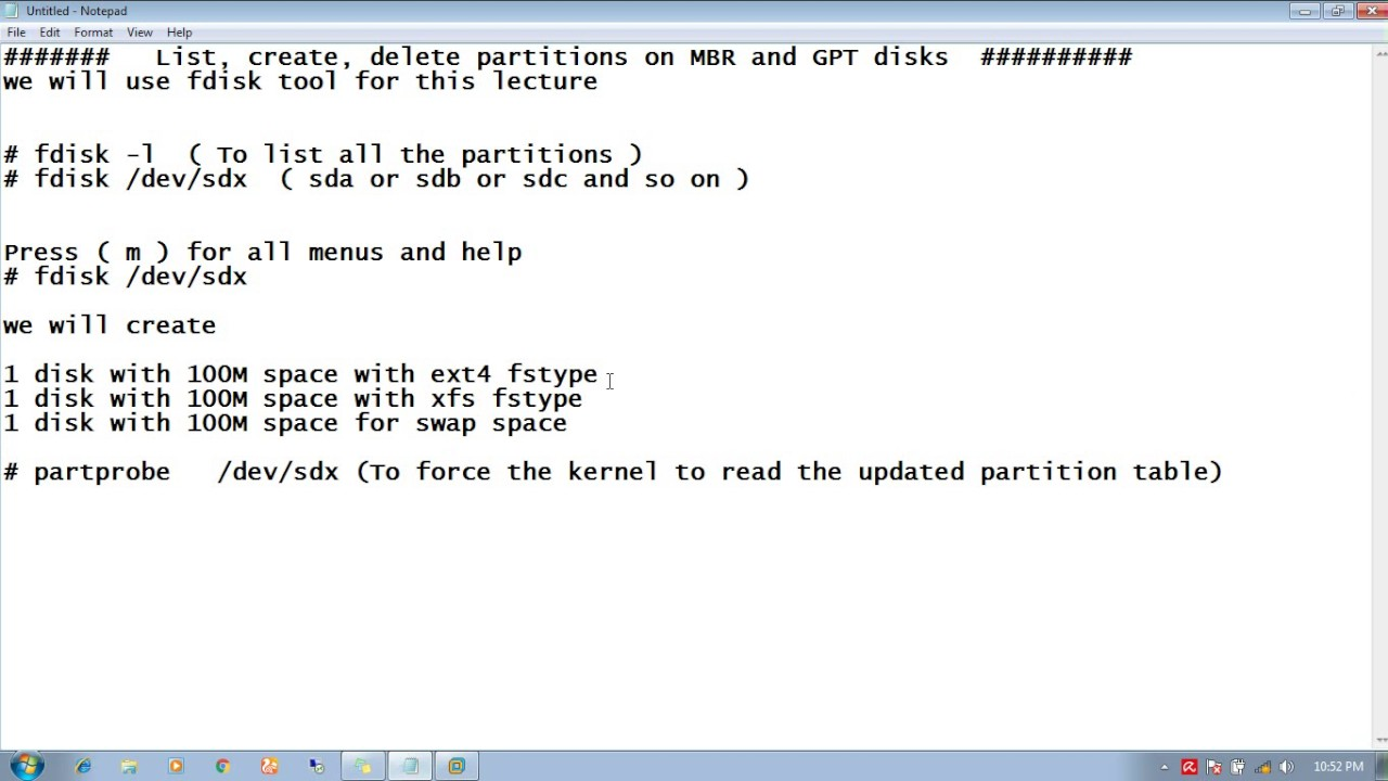 Rhel 7 List, create, delete partitions on MBR and GPT disks