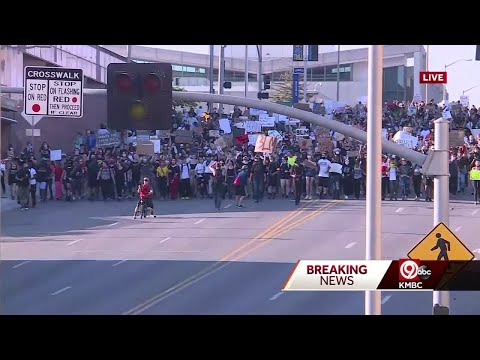 Sunday Protest Shifts To March Through Kansas City