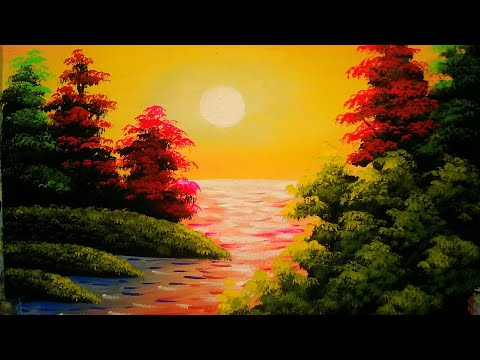 sunset in the ocean |watercolour painting | simple landscape painting