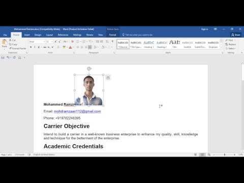How to adjust Photo on Resume   CV in MS word? (Hindi/Urdu) Super simple