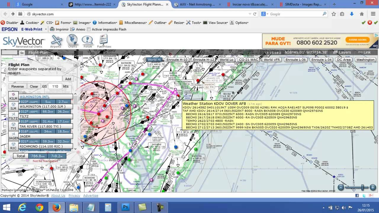 Skyvector flight vfr planning - Briefing Rota Do Voo Ma2yaca7 Skyvector
