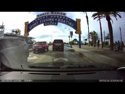 Santa Monica Pier.  Dashcam video