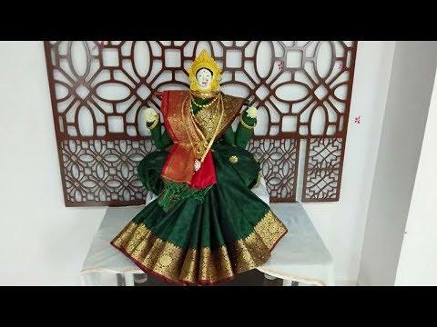 Simple Saree draping for varamahalakshmi - Gauri saree draping in easy step  - महालक्ष्मी साडी