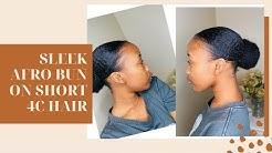 SLEEK AFRO LOW BUN ON SHORT 4C NATURAL HAIR | Ayabulela Mahleza | South African YouTuber
