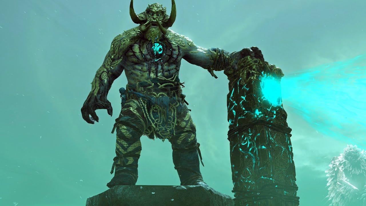 God of War PS4 - Bridge Keeper Boss Fight #10 (Give Me God of War Hard Difficulty) (4K)