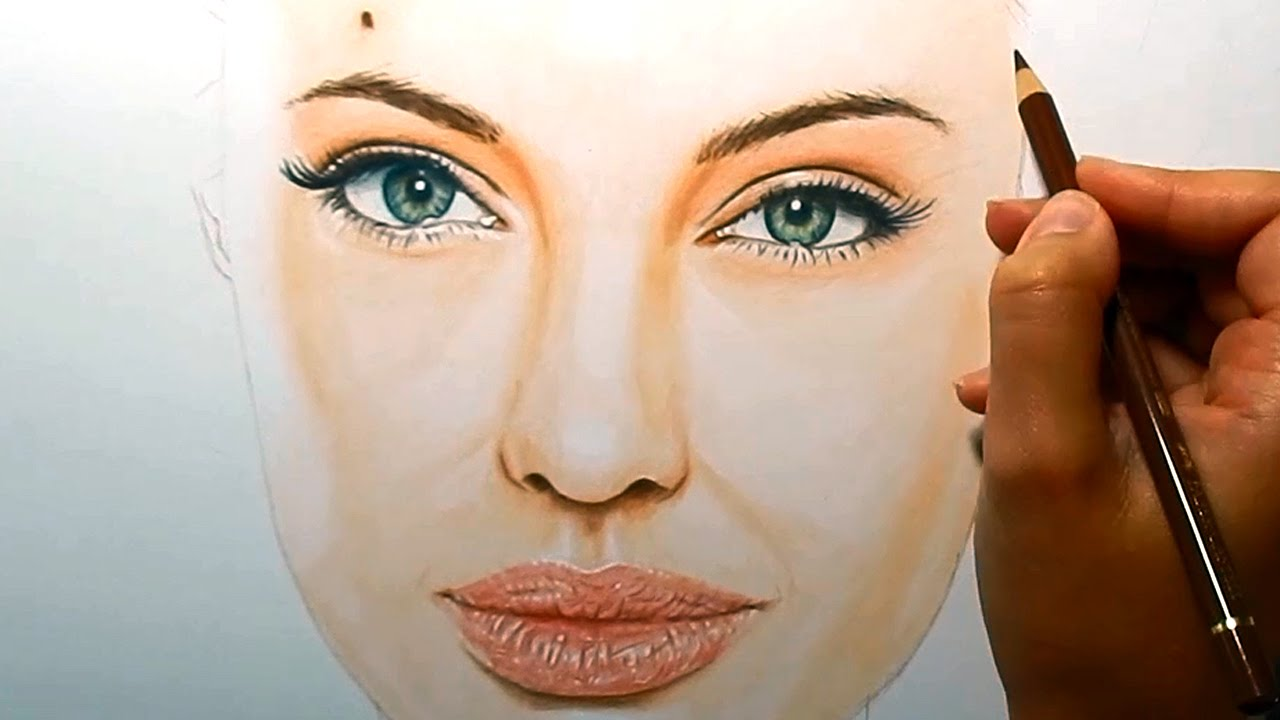 Timelapse  Coloring Skin With Copic Markers And Colored Pencils  Angelina  Jolie  Emmy Kalia  Youtube