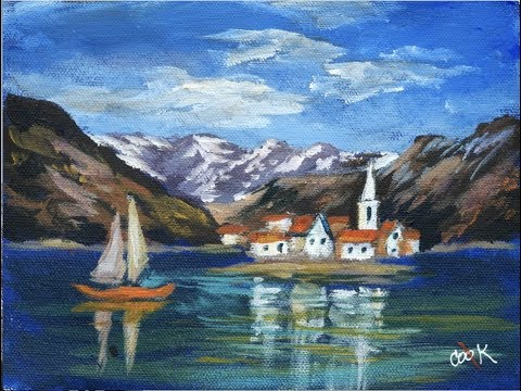 Italian Alpine Lake Acrylic Painting with 10 minute bonus