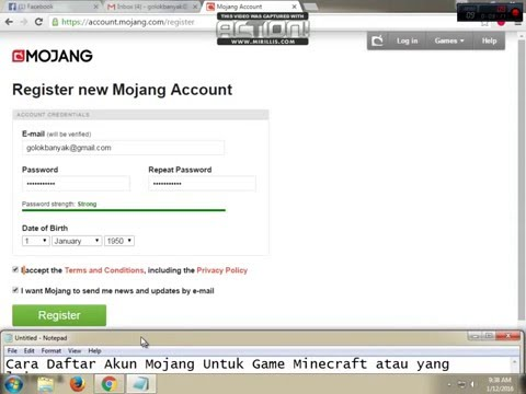 How To Register Mojang Account - YouTube