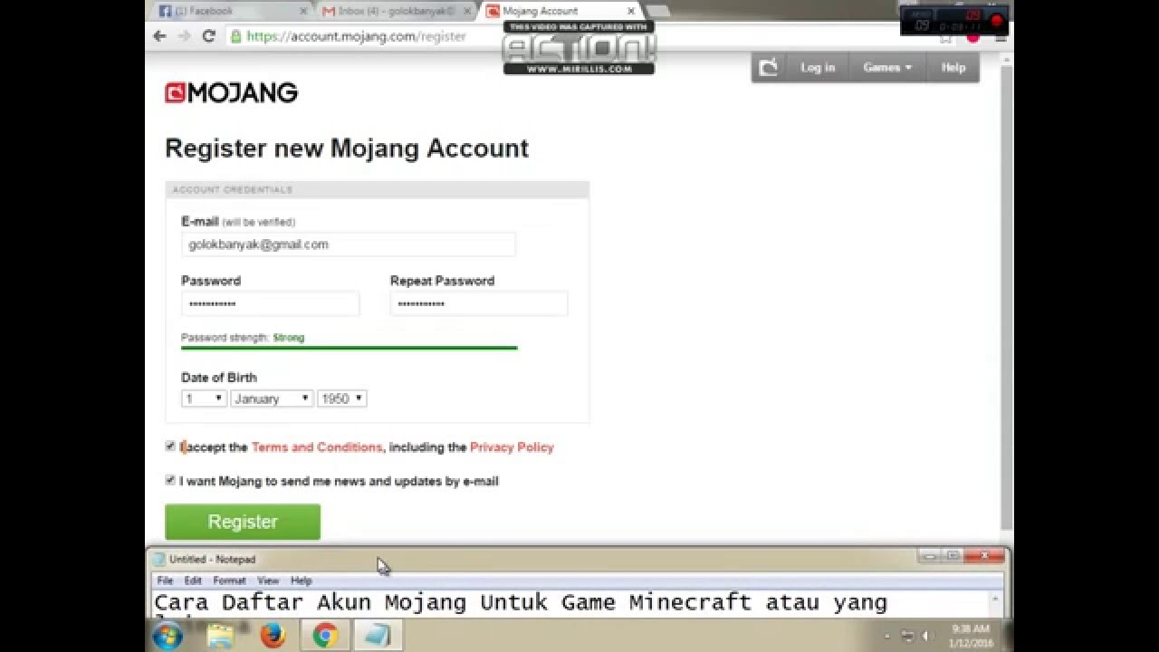 How To Register Mojang Account