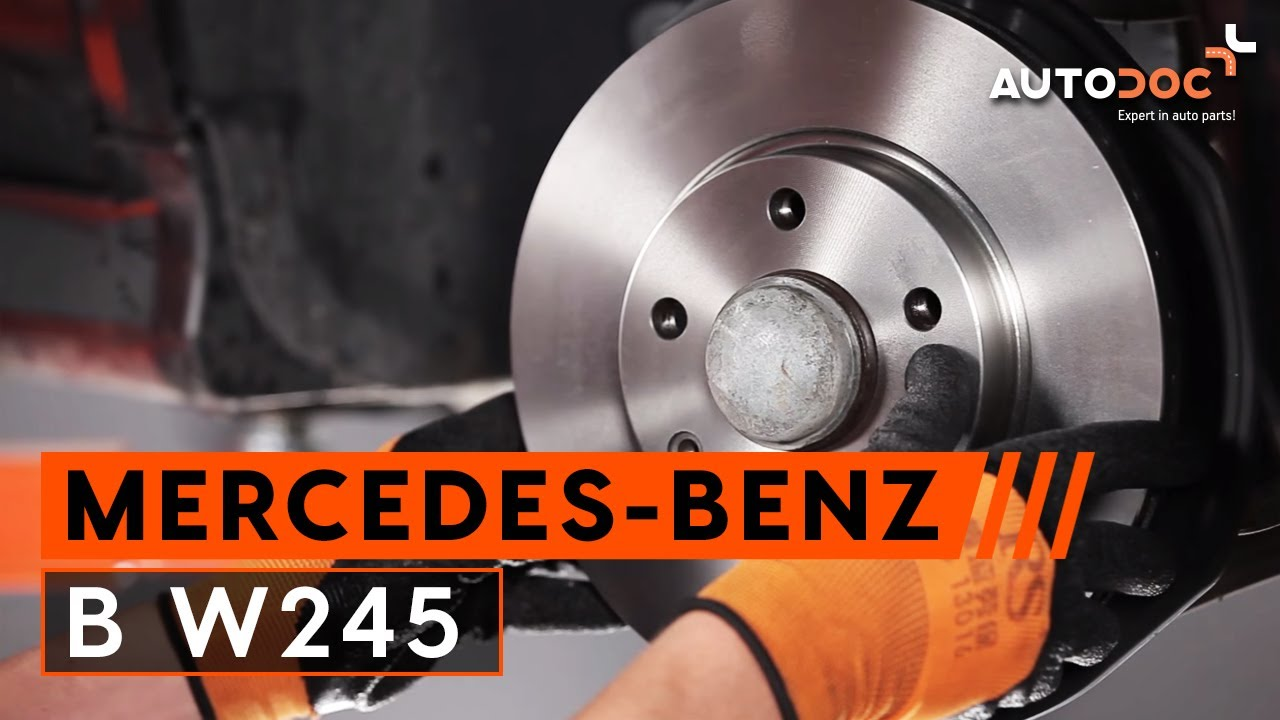 How to replace front brake discs and front brake pads on MERCEDES-BENZ B  W245 TUTORIAL | AUTODOC