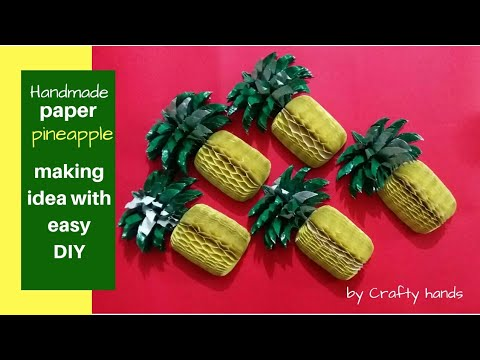 How to make paper pineapple  paper art/handmade 3d pineapple from paper