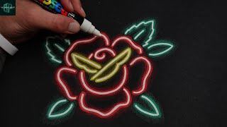 Simple Way To Dŗaw Glow! Neon Rose with pen and pencil