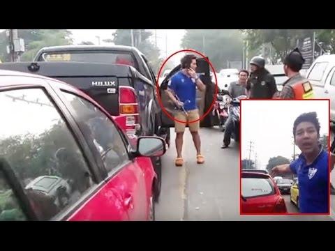 รวมคลิปเต็ม!! DJ เก่ง วีโก้ (กระบะดำ) ถอยรถชน ยาริส (เก๋งแดง) [HD] คลิปดังที่กำลังเป็นข่าว
