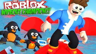 FUNNY ROBLOX WIPEOUT, TRY NOT TO LAUGH!! w/ LITTLE DONNY, DONUT THE DOG & BABY MAX!!