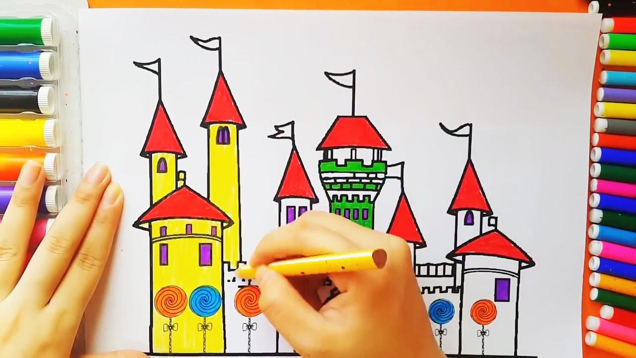 Древний замок. Раскраска для детей своими руками ...