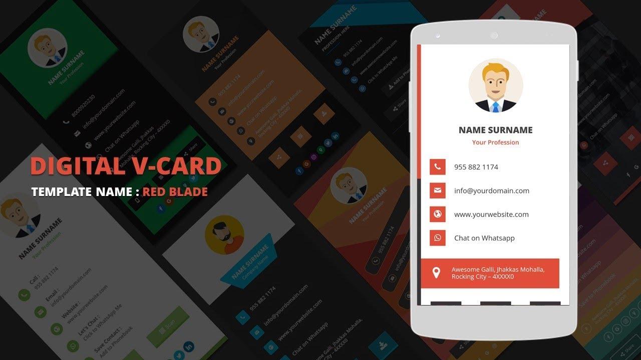 Digital Business Card Template | Digital vCard Template - RedBlade ...