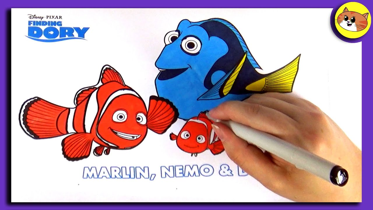 Finding Dory Coloring Pages: Marlin, Nemo & Dory - YouTube