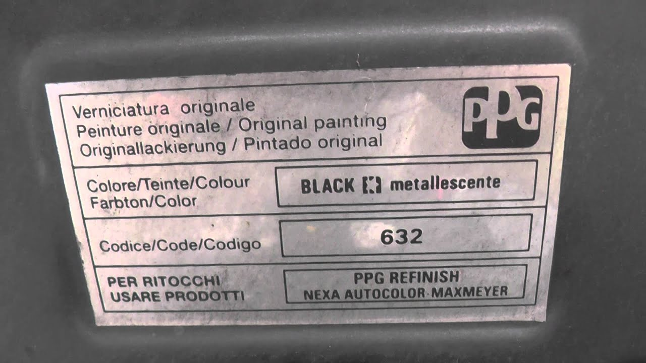 Fiat Paint Code Colour Location Guide - YouTube
