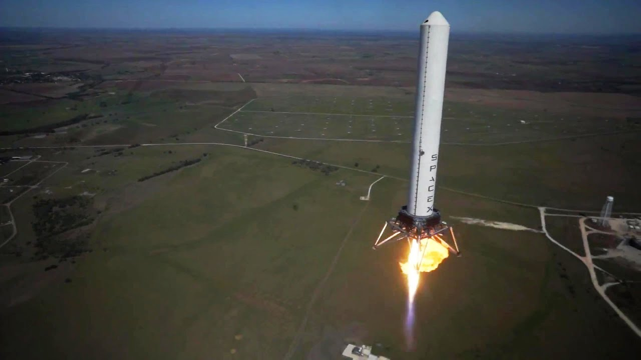 spacex grasshopper vertical takeoff vertical landing vtvl reusable rocket 744m test 1080p youtube