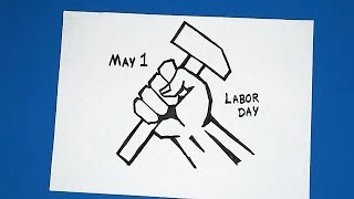 HOW TO DRAW LABOR DAY Poster drawing | Easy labour day Drawing poster